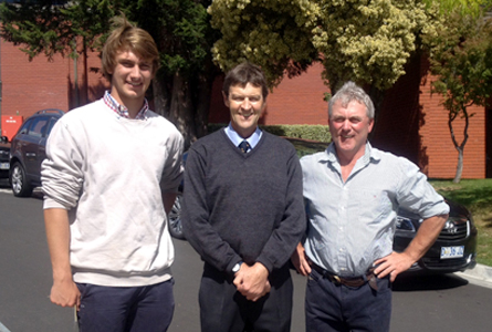 Charles Burbury with Chris Rae (Hutchins Teacher and Old Boy '66) and uncle Iain Burbury ('81)