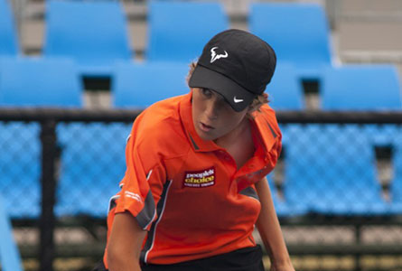 Jesse Russell at the Bronze Victorian Tournament, Ballarat. Photo courtesy Tennis Australia.