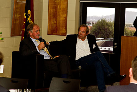 Jim Wilkinson MLC (OB '69) and Brent Crosswell 'on the couch' at the Corporate Breakfast.