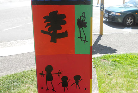 The Kinder painted traffic signal box.
