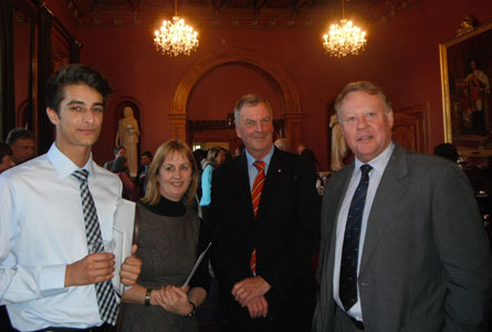 TQA award winner Nanak Narulla with his mother Sally Brown, His Excellency, The Honourable Peter Underwood, Governor of Tasmania and Headmaster Warwick Dean.