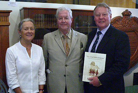 Archivist Margaret Mason-Cox with author Reg Watson and Headmaster Warwick Dean.