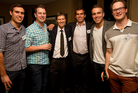 Chris Rae (centre) catching up with Old Boys at the Melbourne Reunion.