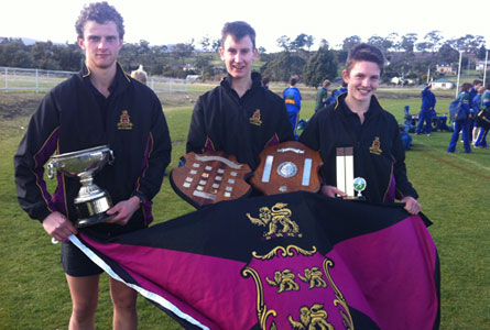 Charles Haward, Henry West (Captains of Cross Country) and Under 15 age group winner Ben Robinson.