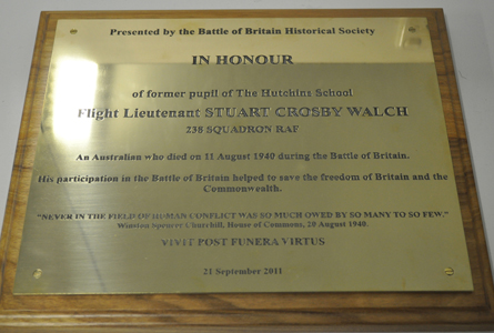 The plaque in honour of Stuart Crosby Walch.