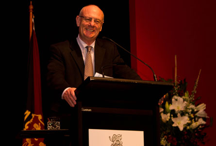 CEO of World Vision Australia, Reverend Tim Costello enthralled audiences at this year's Webber Lecture. Photo courtesy of Barrie Irons.