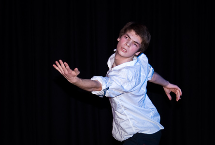 Year 9 Performing Arts student Callum Gugger perfoms a self-coreographed piece for lecture guests.
