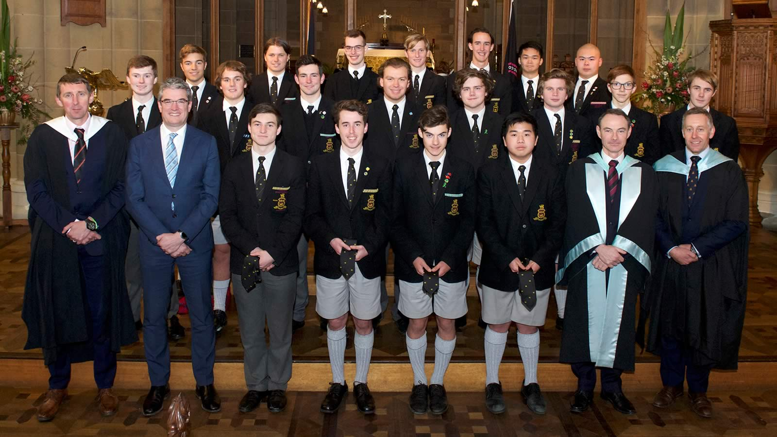 2019 Anniversary Tie recipients with Mr Richard Davies (Deputy Headmaster), Mr Gene Phair (Chairman of the Board), Dr Rob McEwan (Headmaster) and Mr Roger McNamara (Head of Senior School).