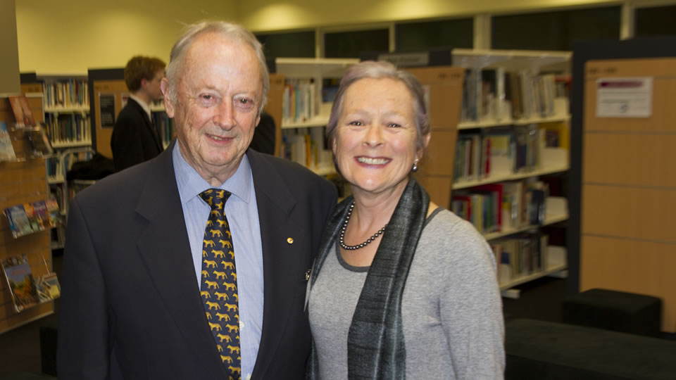 Margaret Mason-Cox with author and Old Boy Tim Bowden ('54).