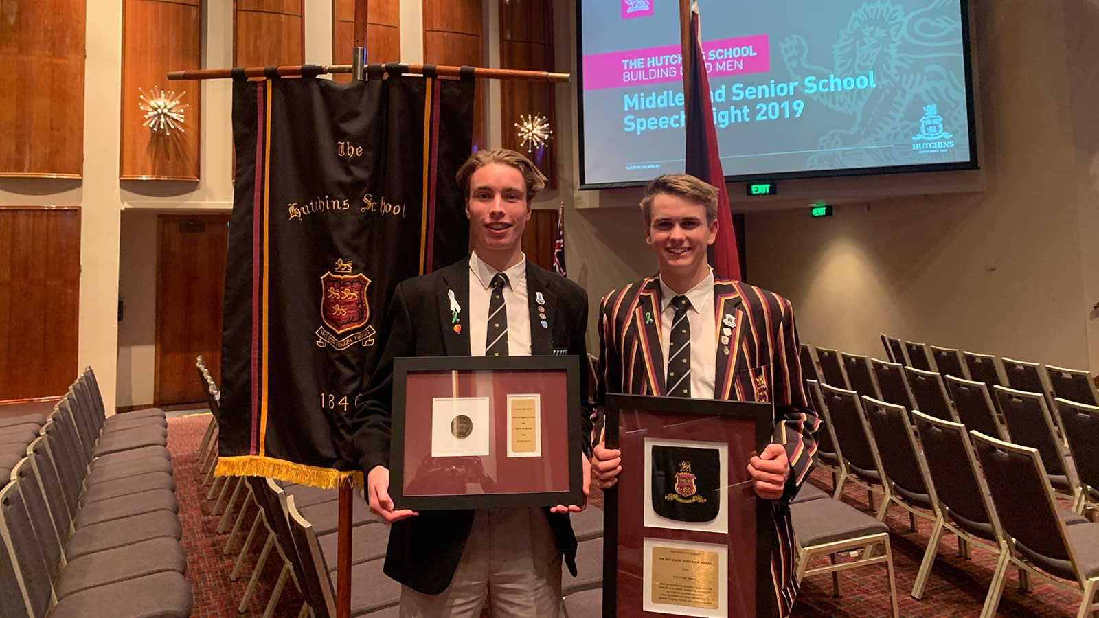 Billy Blackett and Nicholas Smart at Middle and Senior School Speech Night 2019