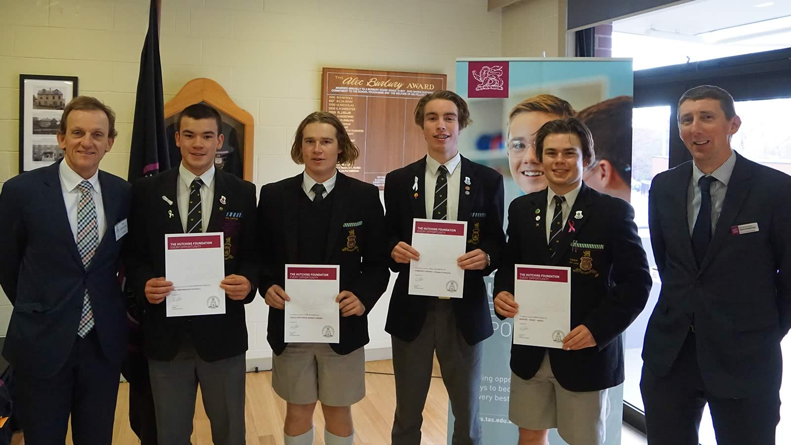 Mr Tim Johnstone (Hutchins Foundation Board member), Oliver Burrows-Cheng (School Captain), Finn McLagan (Year 11), Billy Blackett (Year 12 Prefect), Martyn Szoke (Year 12 Prefect) and Mr Richard Davies (Deputy Headmaster).