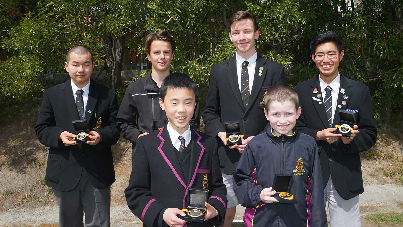 ICAS Mathematics Competition medal winners: Shenghong Zhu (Year 10), Axel Moore (Year 10) – absent, Angus Christie (Year 9), Malcom Ward (Year 11), Koh Kawaguchi (Year 12), Declan Ee (Year 7), William Rumley (Year 6).