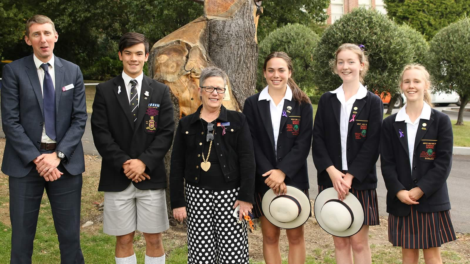 The Hutchins School Deputy Headmaster – Mr Richard Davies, School Captain – Oliver Burrows-Cheng, The Fahan School Deputy Principal - Dr Donna Evans, Head Girl – Isabella Faird, Deputy Head Girl – Emma Ward and Sophie Young.