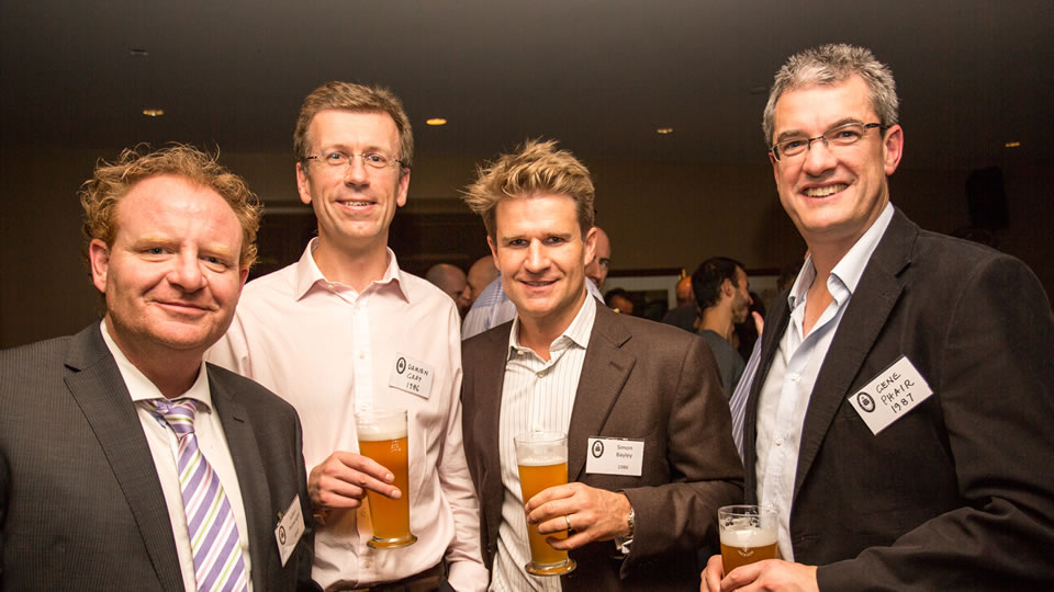 From left Julian Penwright ('87), Damien Gray ('86), Simon Bayley ('86) and Gene Phair ('87) - President of the HSOBA.