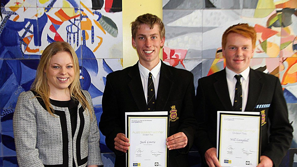 Olivia Butters, CPA Australia Executive Assistant and Member Services Officer, Jack Lowrie (Year 11) and William Campbell (Year 11).