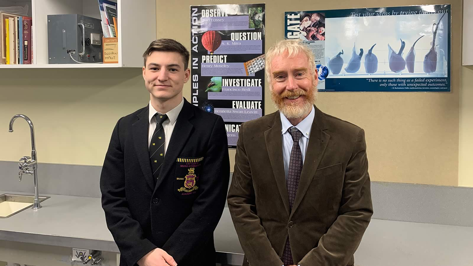 Raiden Lemon (Year 12) and Mr Peter Crofts (Head of Science).