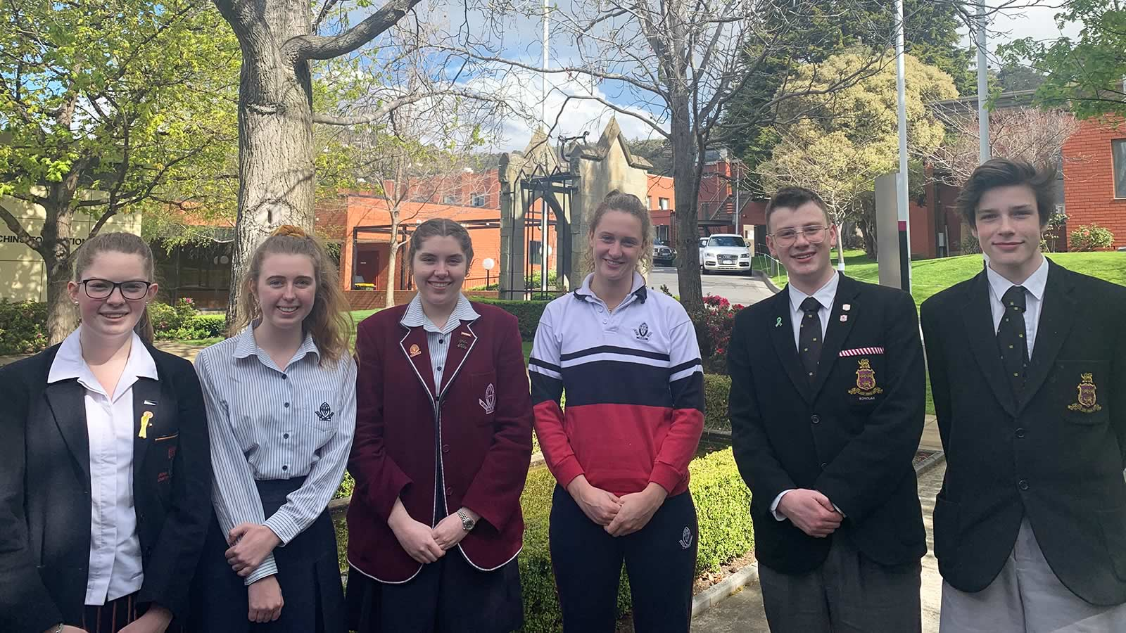 L–R Abbey Calvert (Year 11), Alexandra Wilbur (Year 12), Heather Russell (Year 12), Lily Fisher (Year 11), Ethan Medwin (Year 11) and Hugo Hemmings (Year 11).