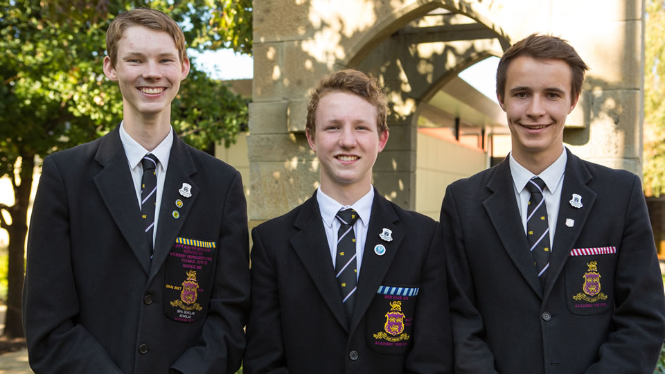 Inducted Prefects Matthew Scaife, Alexander MacIntyre and Lochlan Fraser.