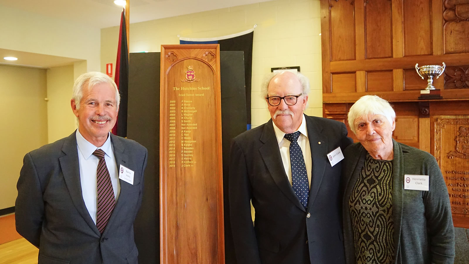 President of the HSOBA Mr Barrie Irons, Ivied Tower Award winner John Clark ('50) and his wife Henrietta.