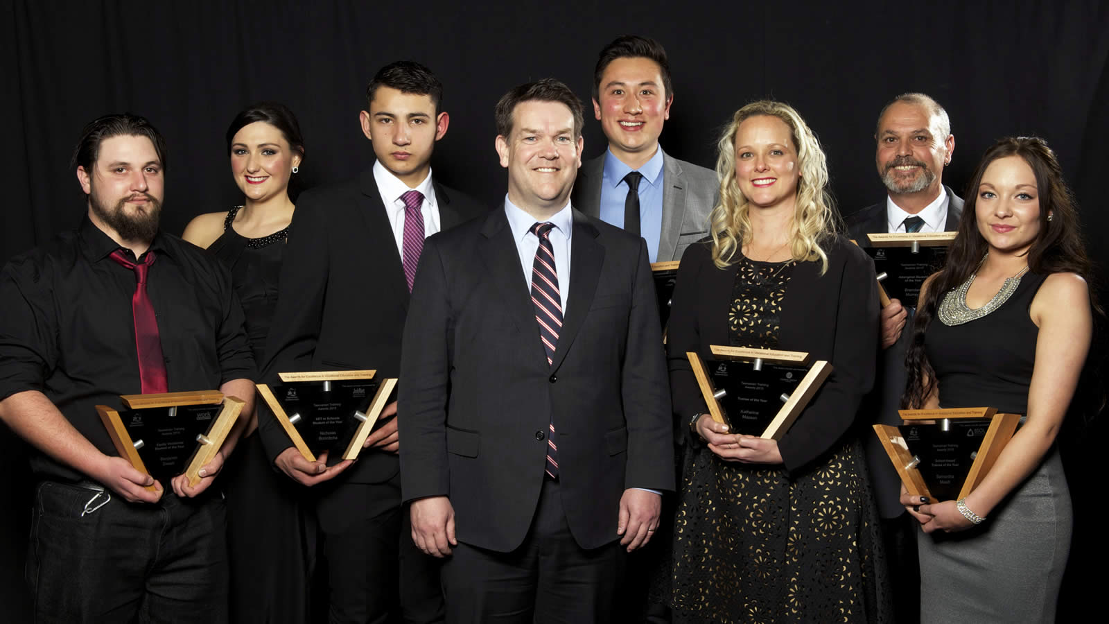 JobNet Tasmania VET in Schools Student of the Year Award winner Nicholas Bonnitcha (third from left) with the 2015 Tasmanian Training Award winners and Minister Matthew Groom. (large)