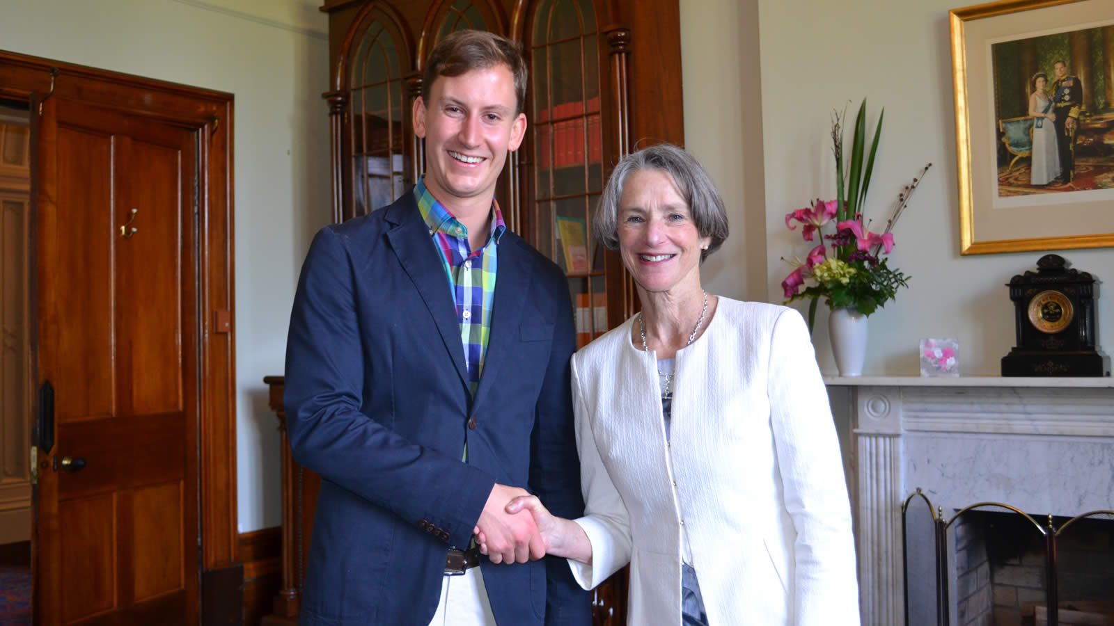 Henry West ('11) with Her Excellency Professor the Honourable Kate Warner AM, Governor of Tasmania (Photo Courtesy of the University of Tasmania)