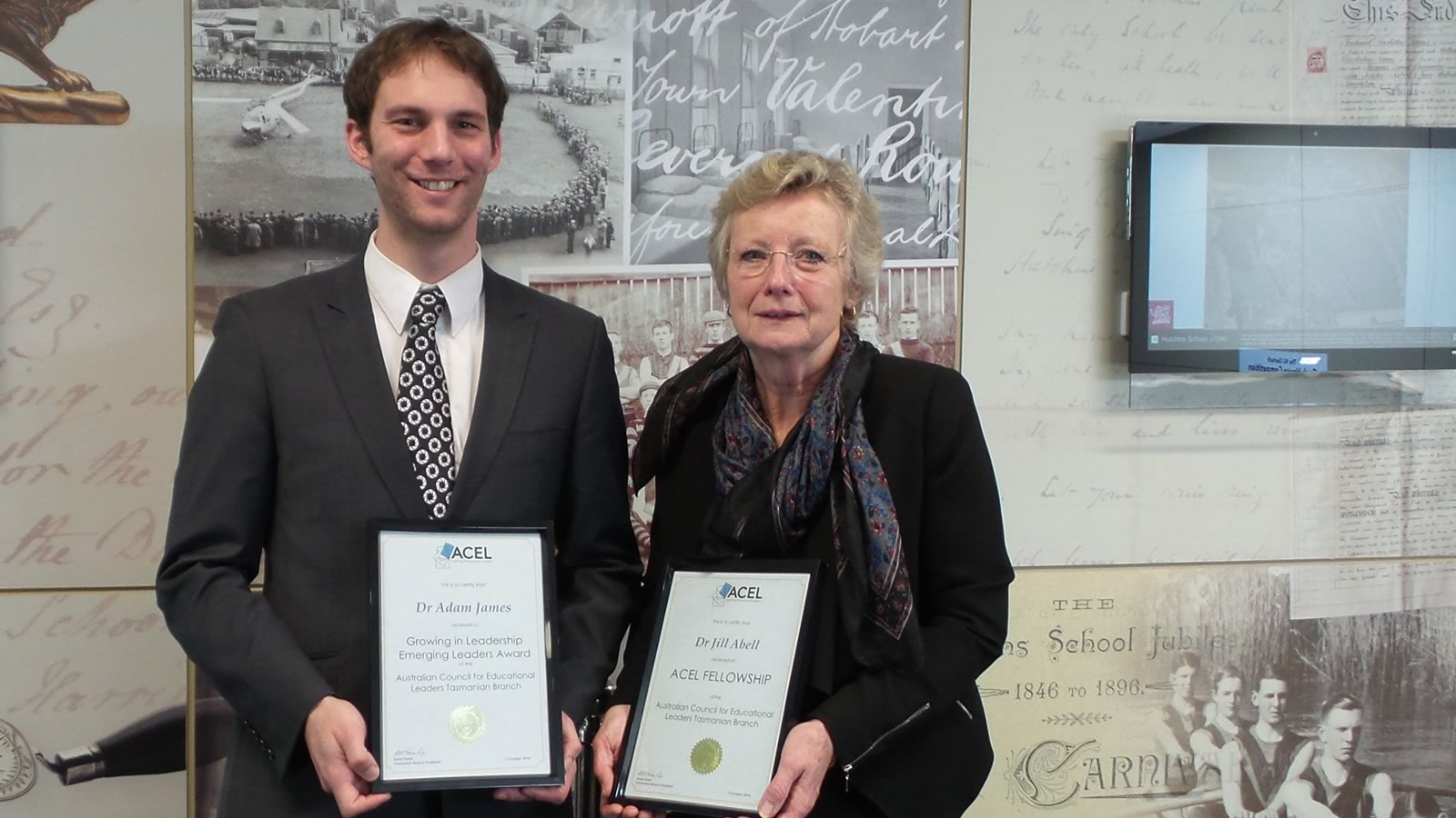 ACEL award recipients, Dr Adam James and Dr Jill Abell. (large)