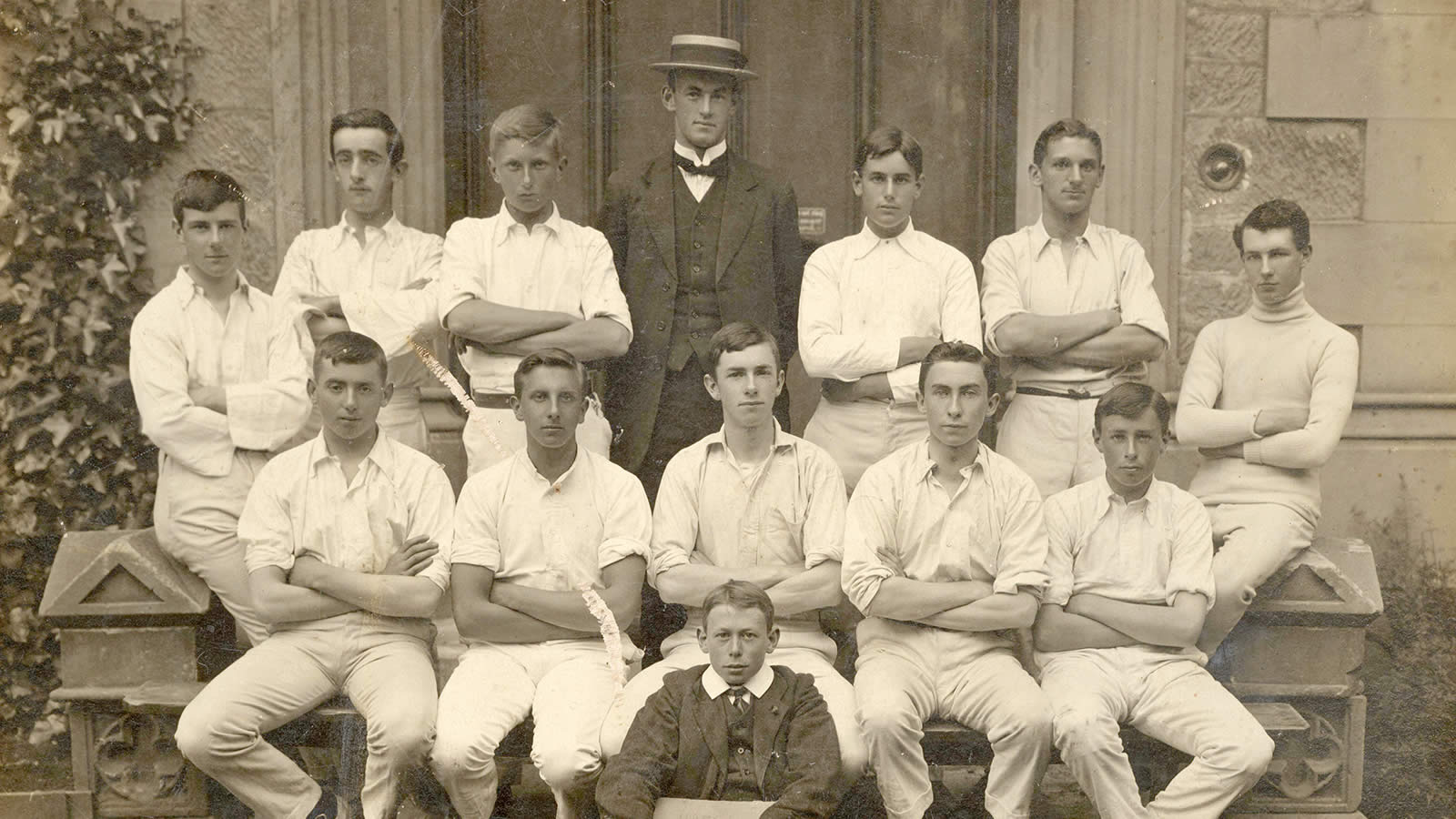 Mr Ivor Margetts, middle back row, with the 1912 First XI.