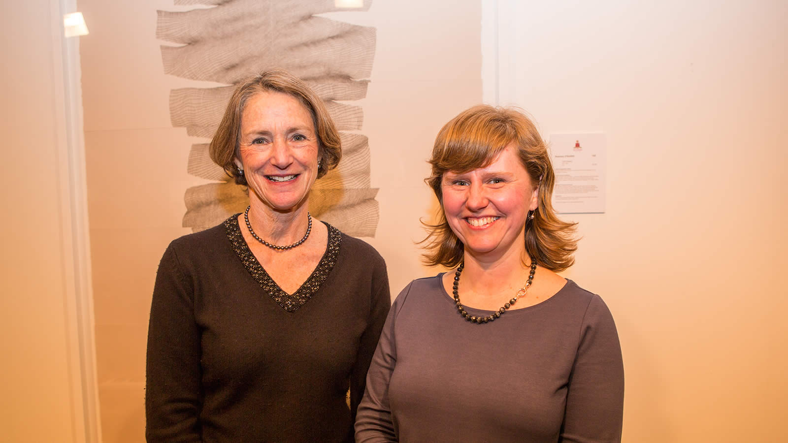 The Governor of Tasmania, Her Excellency Professor the Honourable Kate Warner AM with 2015 Hutchins Art Prize winner, Rosemary O'Rourke. (large)