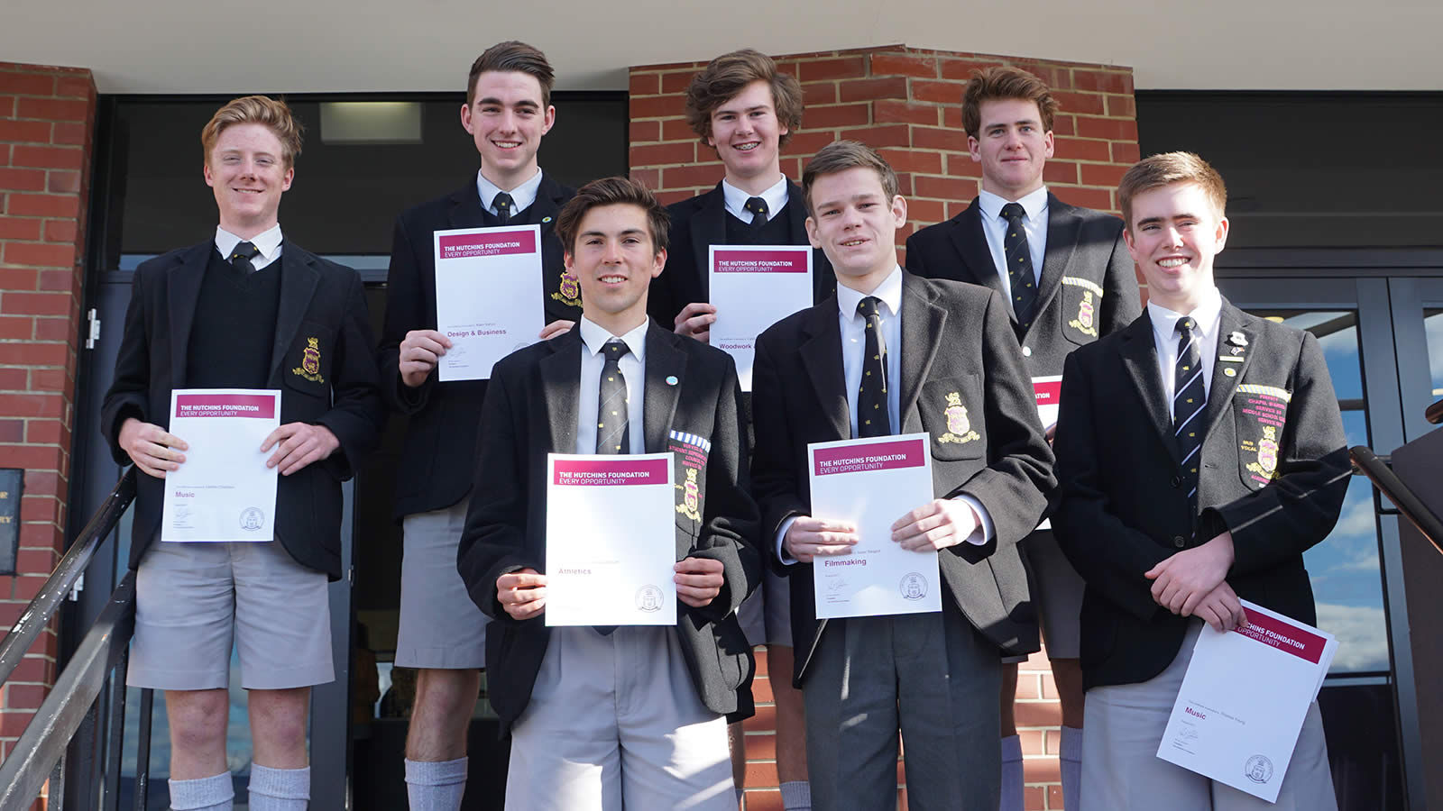 Back row L–R Lachlan Chambers, Adam Nyhuis, Caleb Oakes and Samuel King. Front row L–R Harvey Chilcott, Isaac Sargent and Thomas Young.