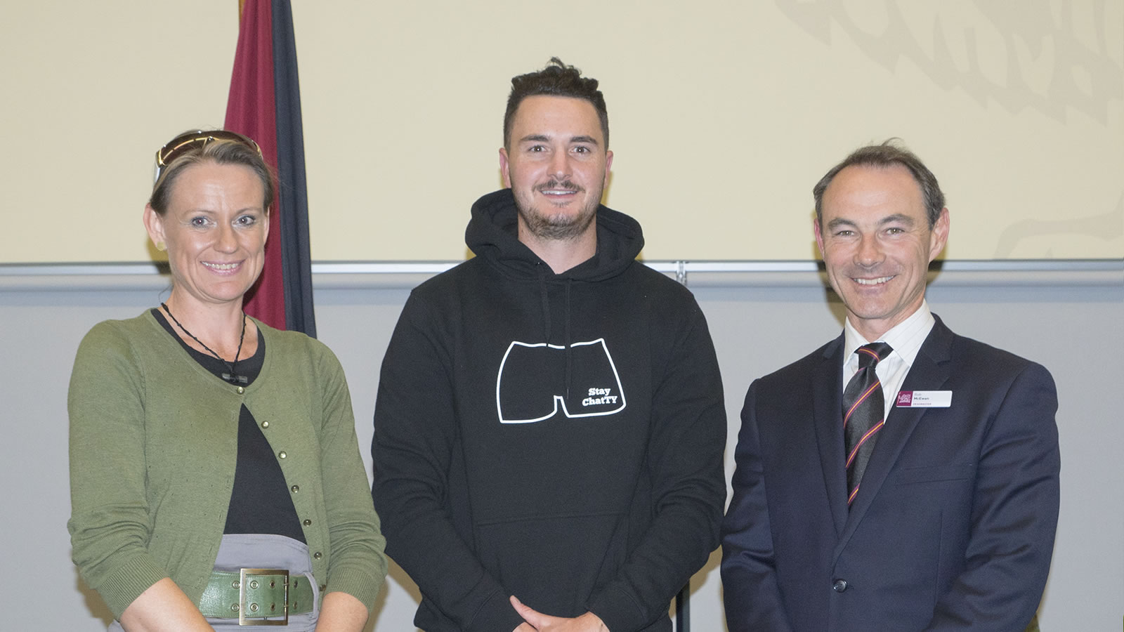 L–R Rebecca Thomson (Lifeline Tasmania), Mitch McPherson (Speak Up! Stay ChatTY) and Dr Rob McEwan (Headmaster). (large)