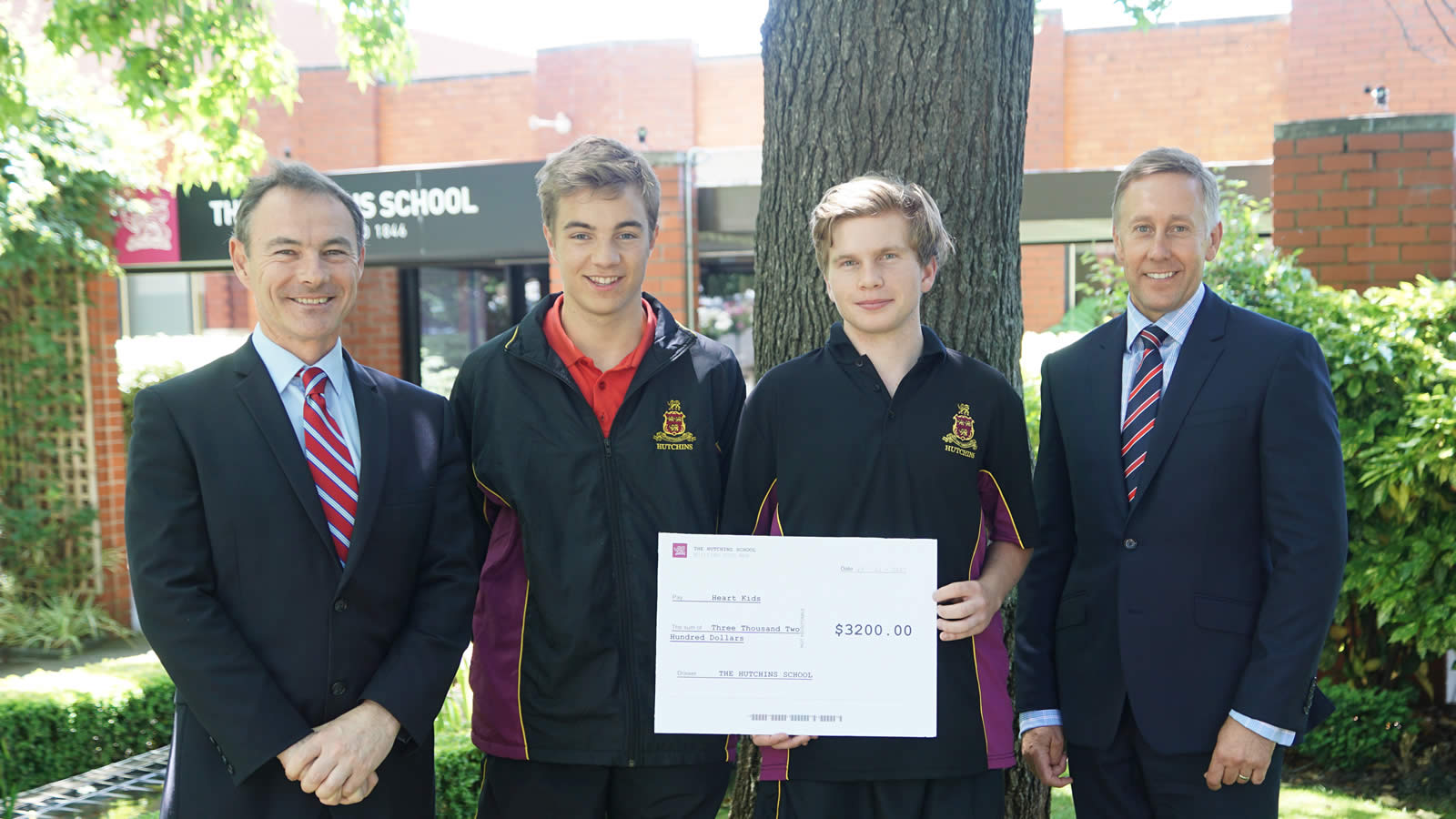 Dr Rob McEwan (Headmaster), Benjamin Farrell, Oliver Parnham, Mr Roger McNamara (Head of Senior School)