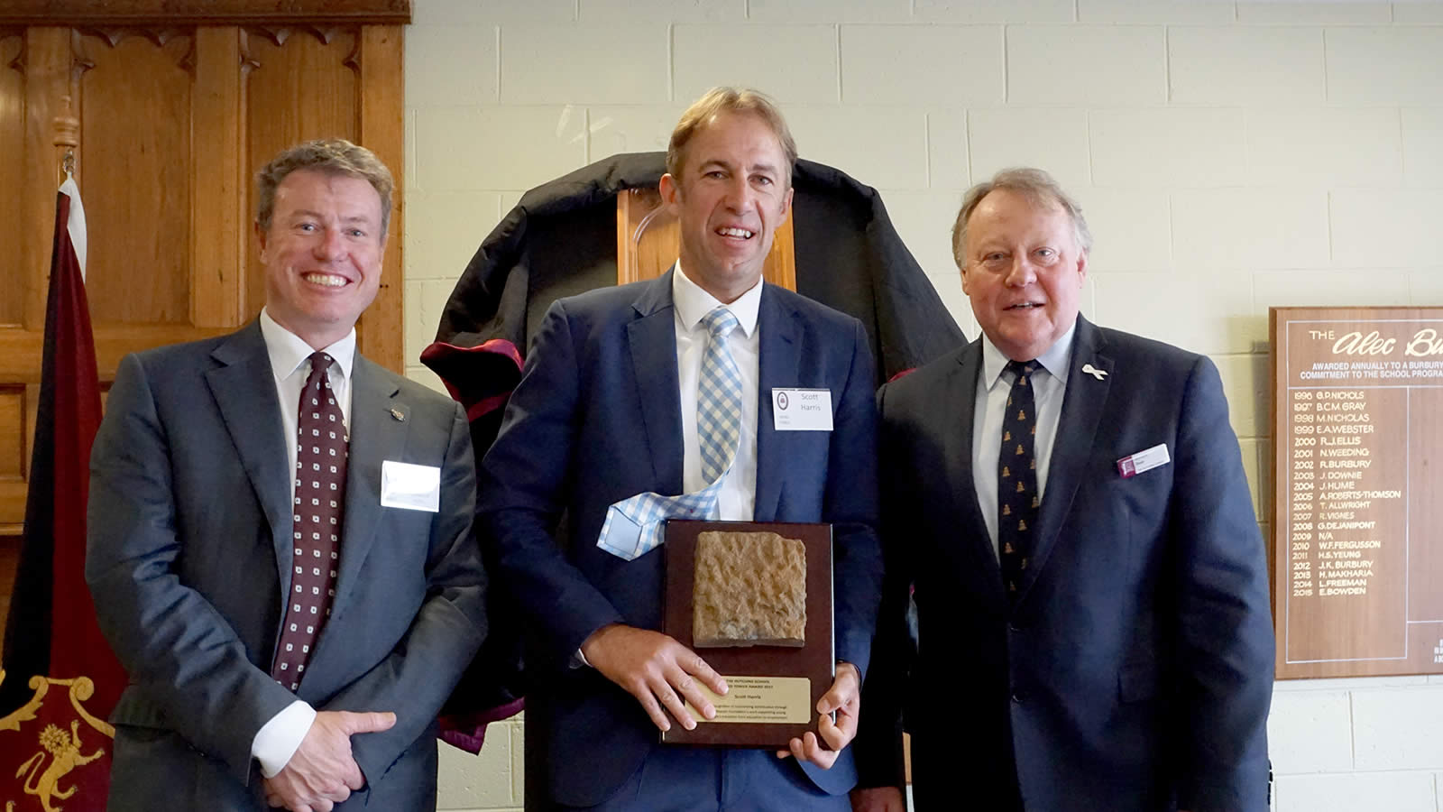 L–R HSOBA President Mr Tim Munro, Mr Scott Harris and Headmaster Mr Warwick Dean. (large)
