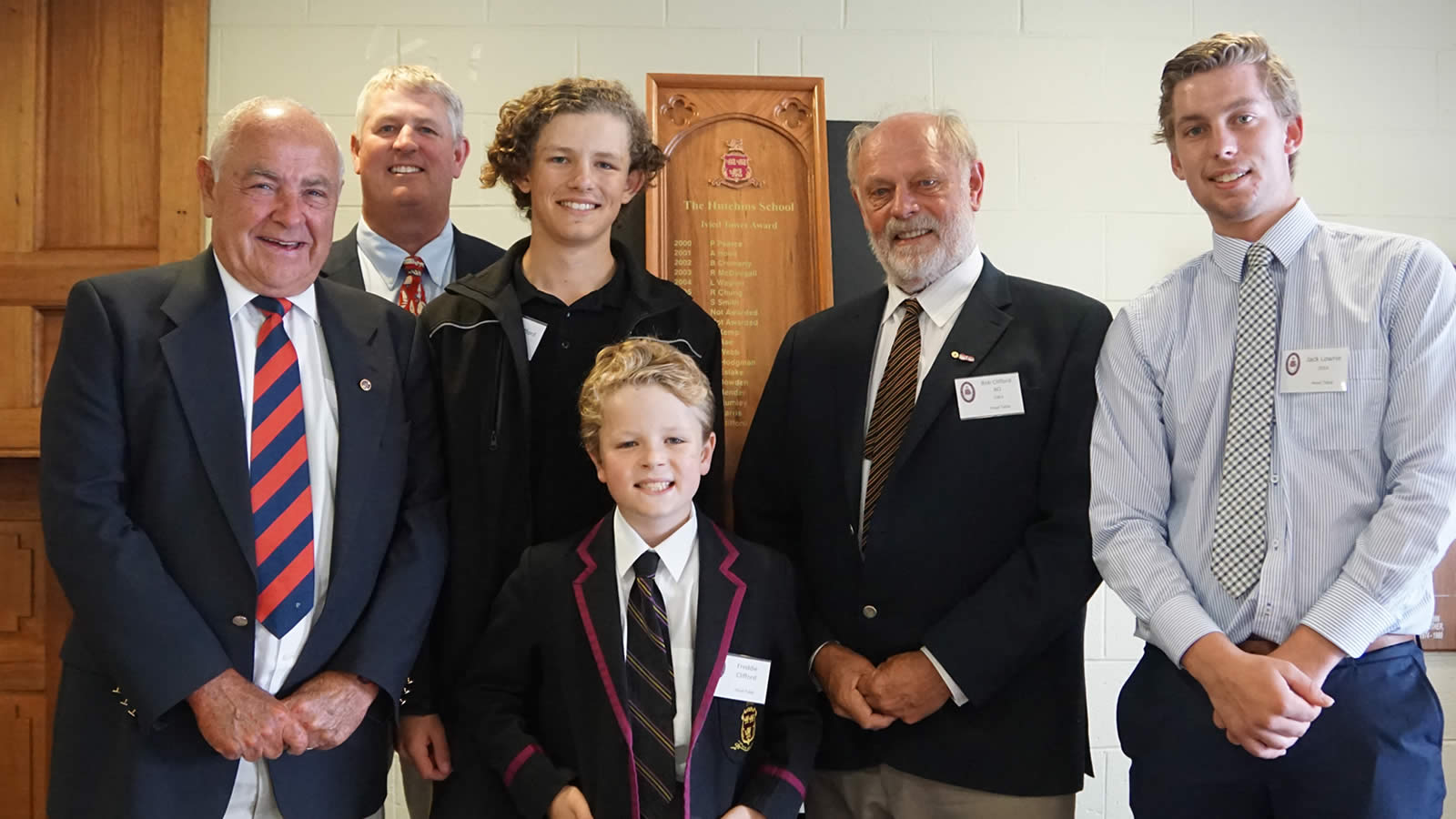 Roger French, Craig Clifford ('84), Joe Clifford (Year 9), Frederick Clifford (Year 4), Robert Clifford ('61) and Jack Lowrie ('14)
