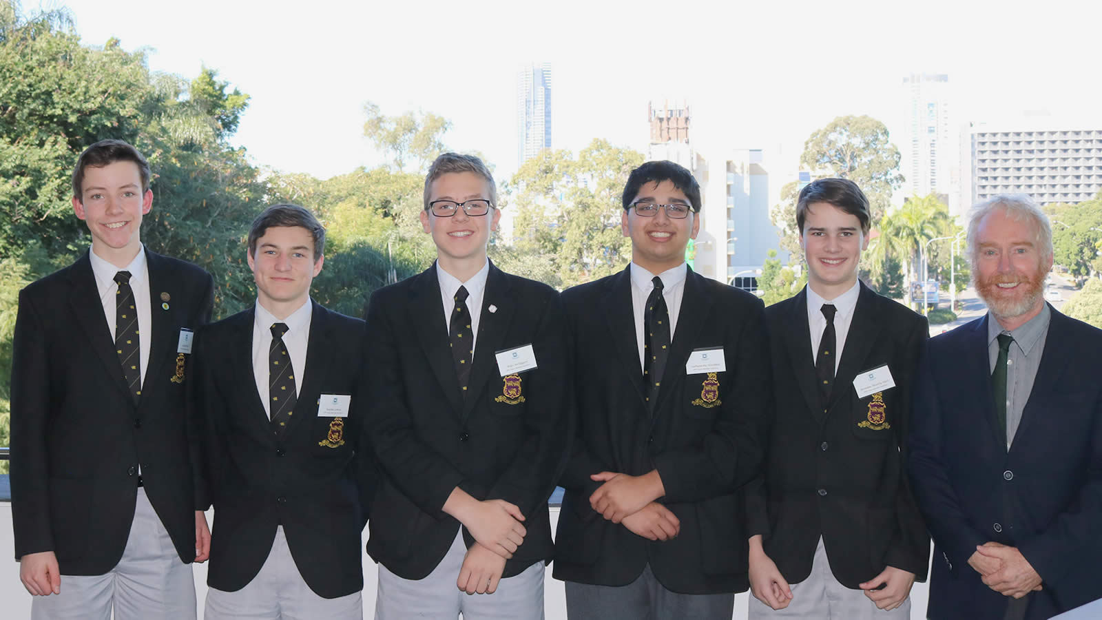 L–R Year 10 students, Malcolm Ward, Raiden Lemon, Miles McTaggert, Sudhaunshu Hardikar and Brendan Heatley-Hart with Head of Faculty Mr Peter Crofts.