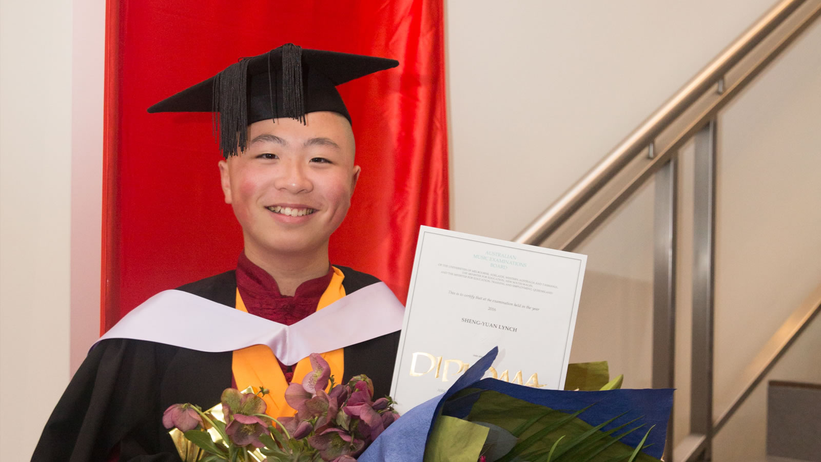 Year 6 student Sheng-Yuan Lynch attending his UTAS Graduation Ceremony earlier this year.