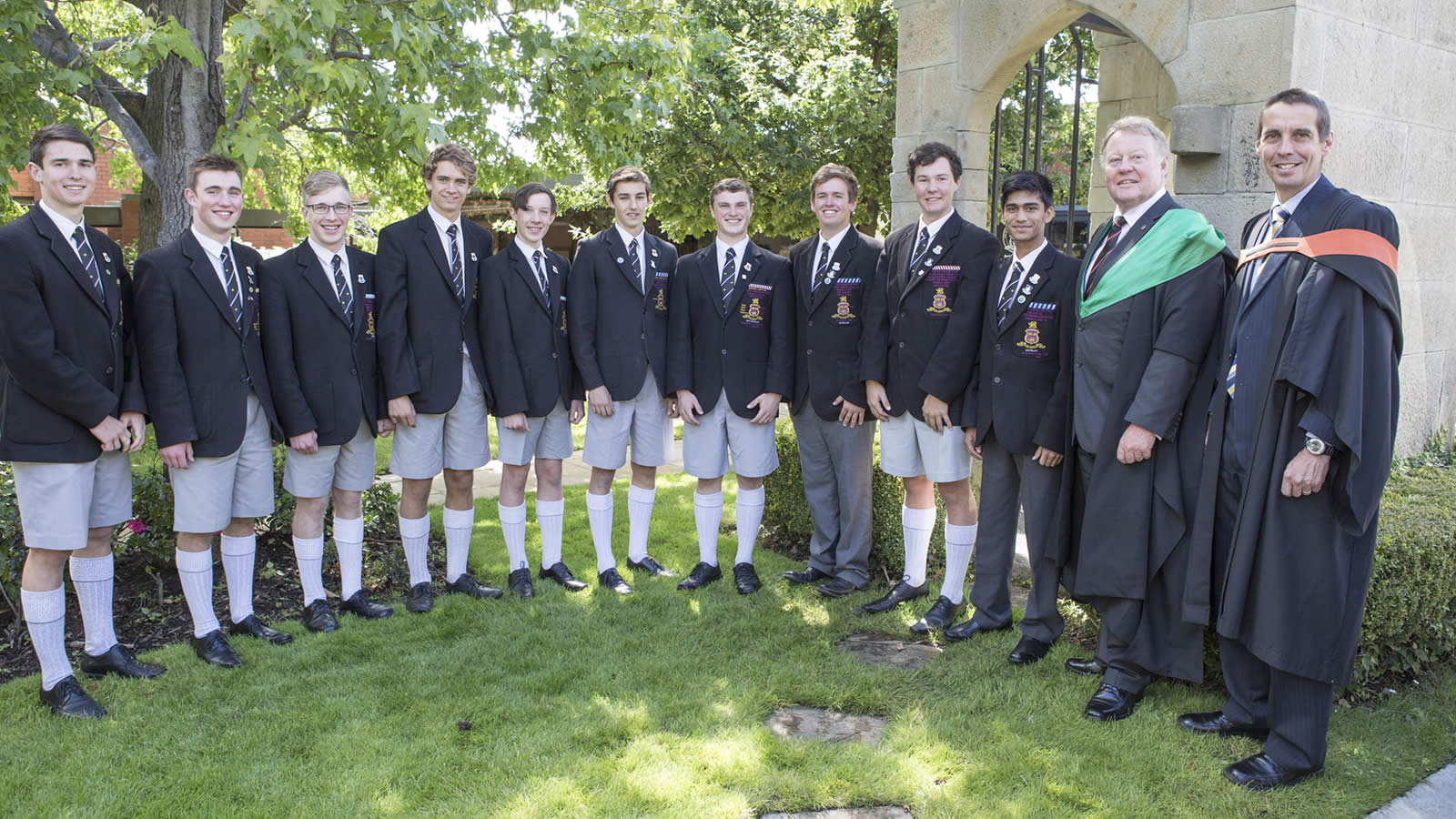 The 2015 leadership group have been inducted at the first Headmaster's Assembly for 2015. (large)