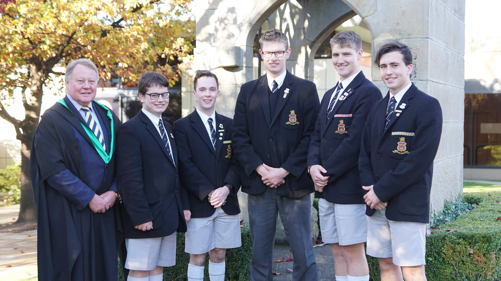 L–R Mr Warwick Dean, Stewart Jackson, James MacMichael, Jake West, Mason Doust and Samuel Smith (large)