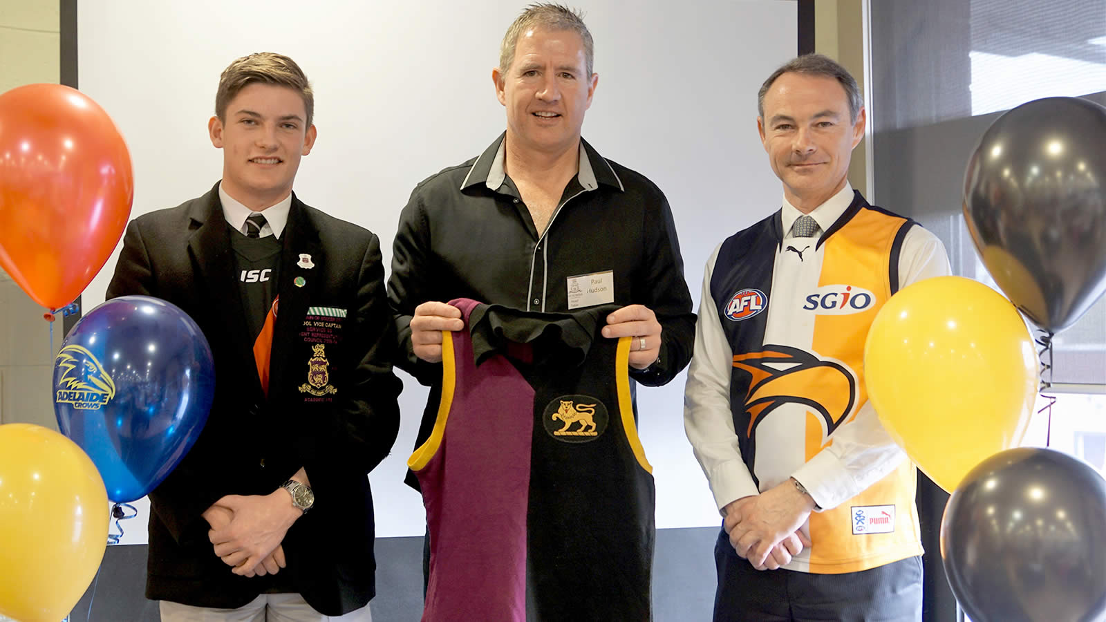 L–R School Vice-Captain Will Smith, Paul Hudson and Headmaster Dr Rob McEwan