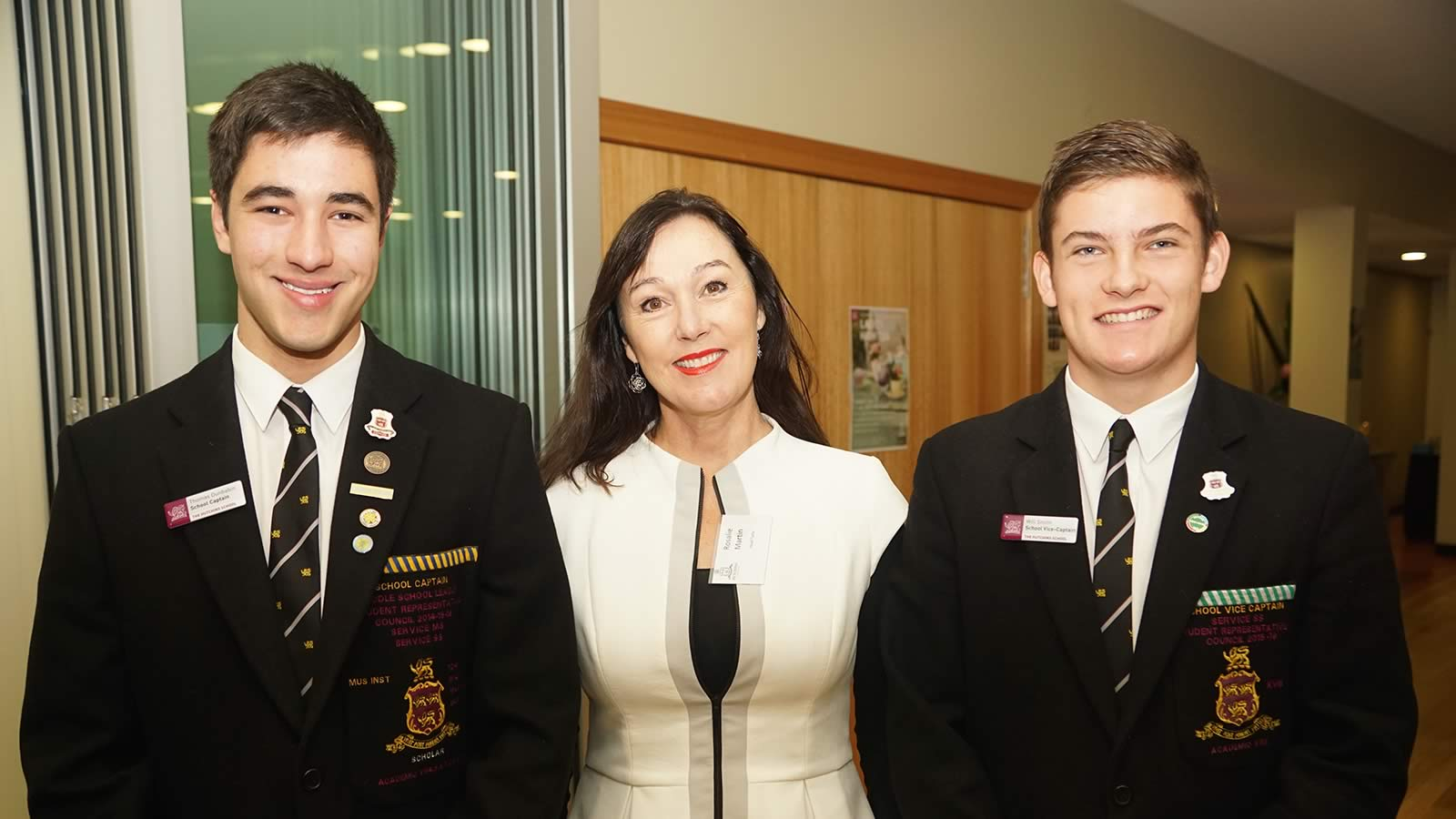 Thomas Dunbabin, School Captain, Rosie Martin, and William Smith, School Vice-Captain.