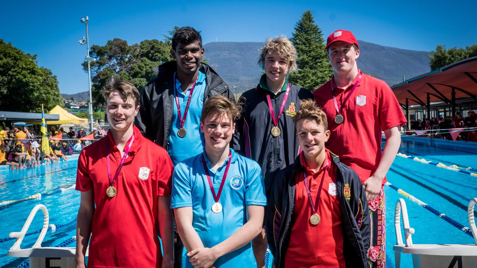 Age group champions William Lickiss, Sembeyan Muthu, Saxon Wright, Liam Duffy, Noah Kamprad and Simon Watt