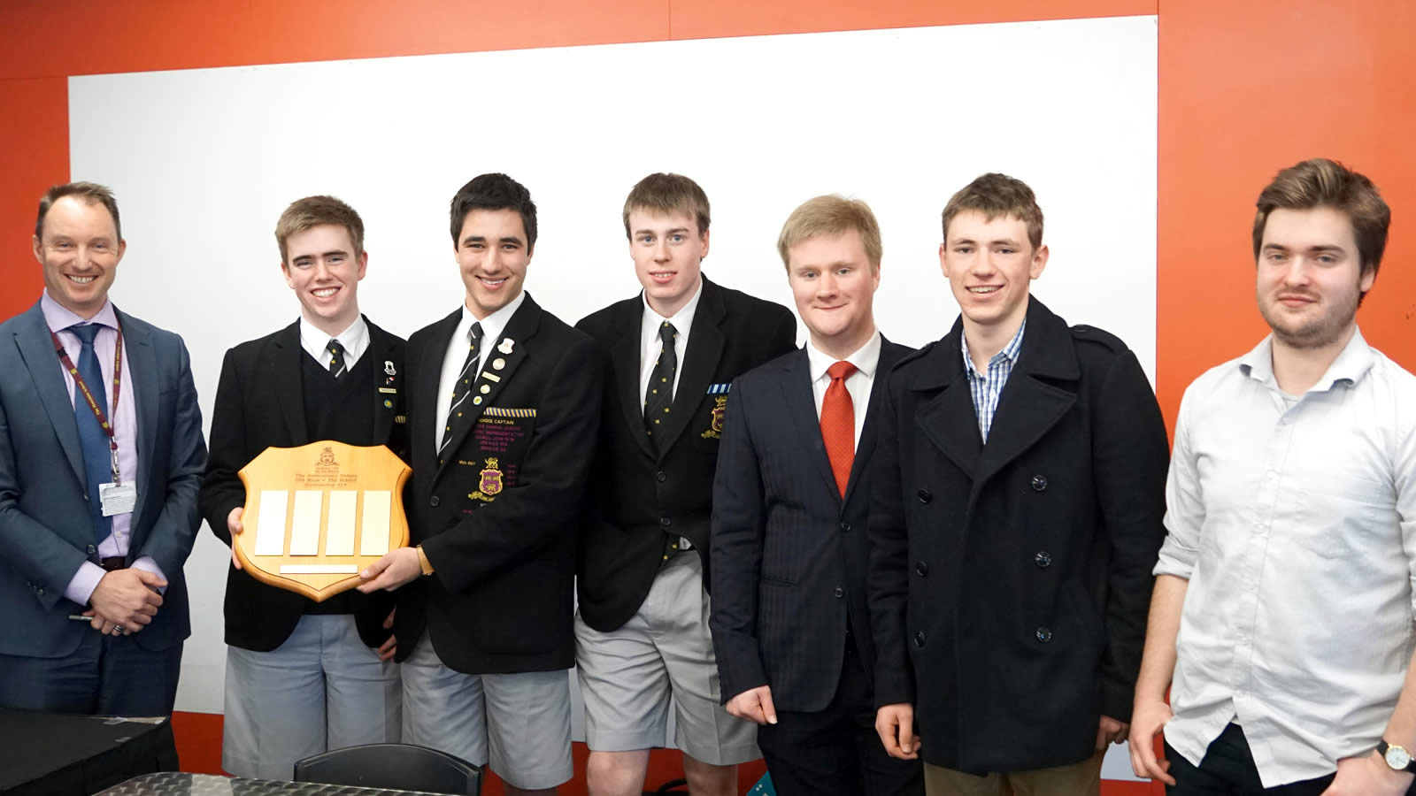 L–R Mr Wayne Brown, Thomas Young, Thomas Dunbabin, Alex Munro, Daniel Croser ('16), Fergus McShane ('16) and Nick Gribble ('14). Absent – Jeremy Reid.