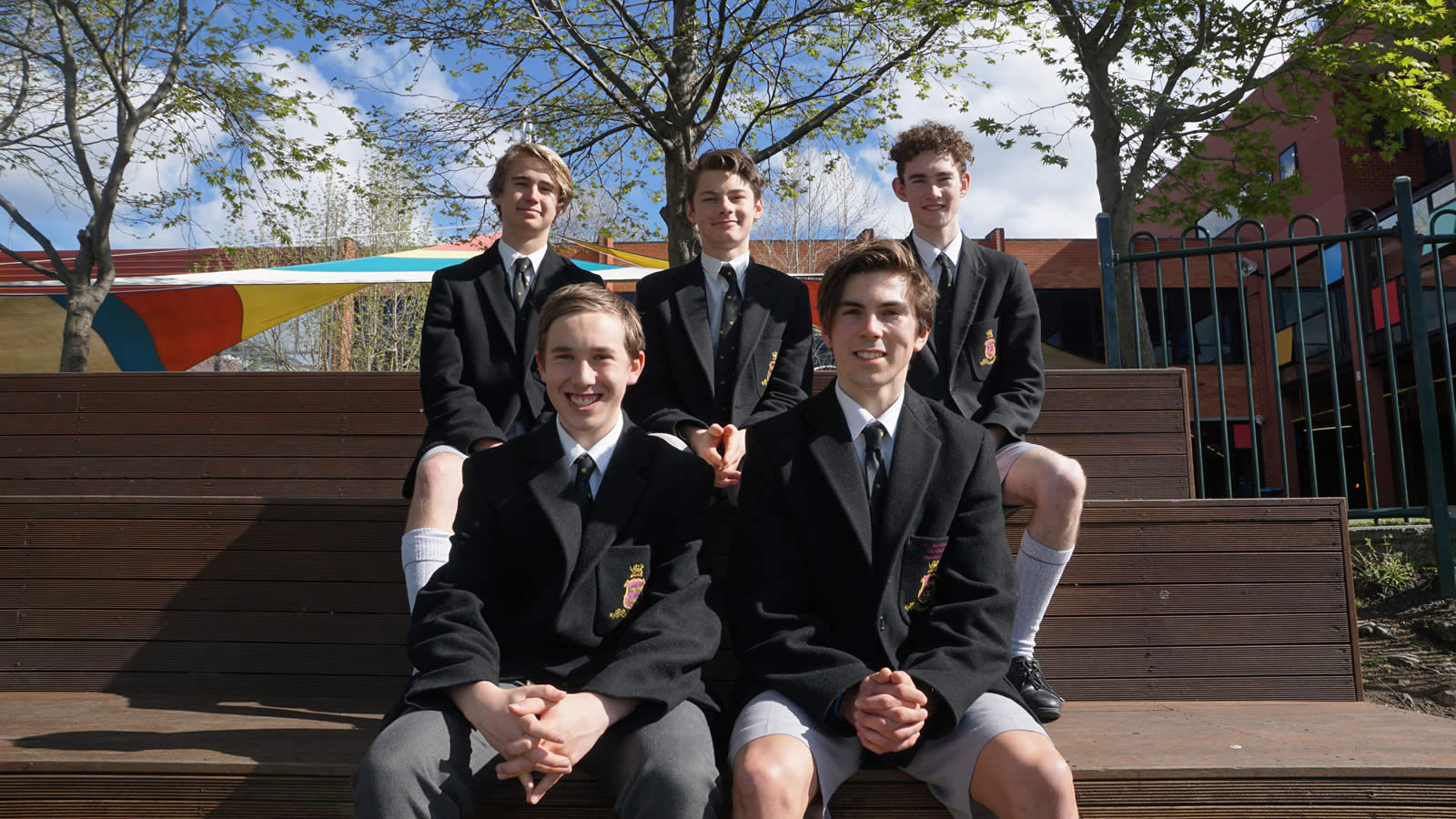 Back row L–R Fergus Charles, Charles Moss, Alexander Titchen. Front row L–R Joseph Bailey, Harvey Chilcott. (large)