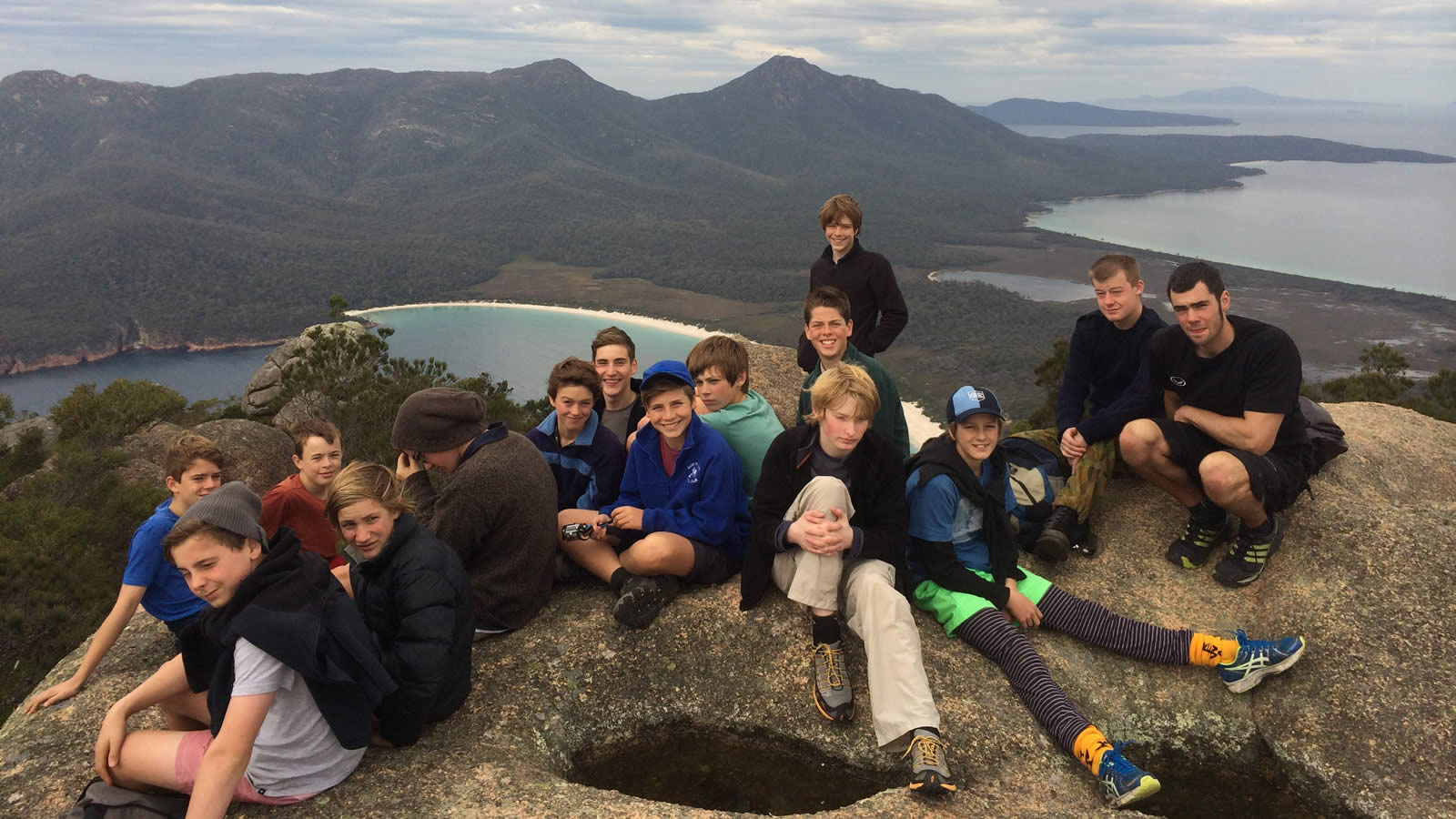 Year 8 students resting after climbing at Freycinet. (large)