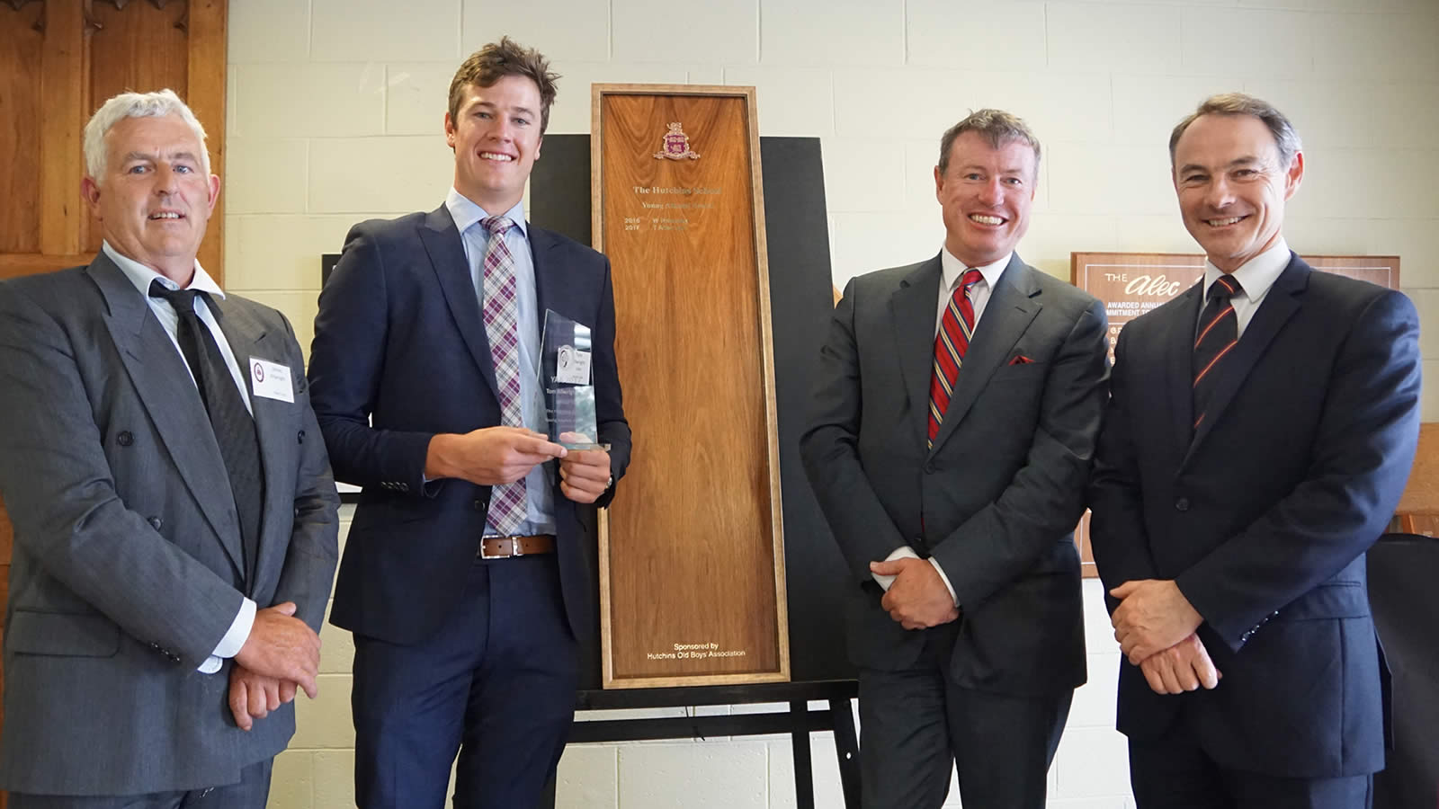 L–R James Allwright, Tom Allwright ('08), HSOBA President – Tim Munro ('82) and Headmaster – Dr Rob McEwan