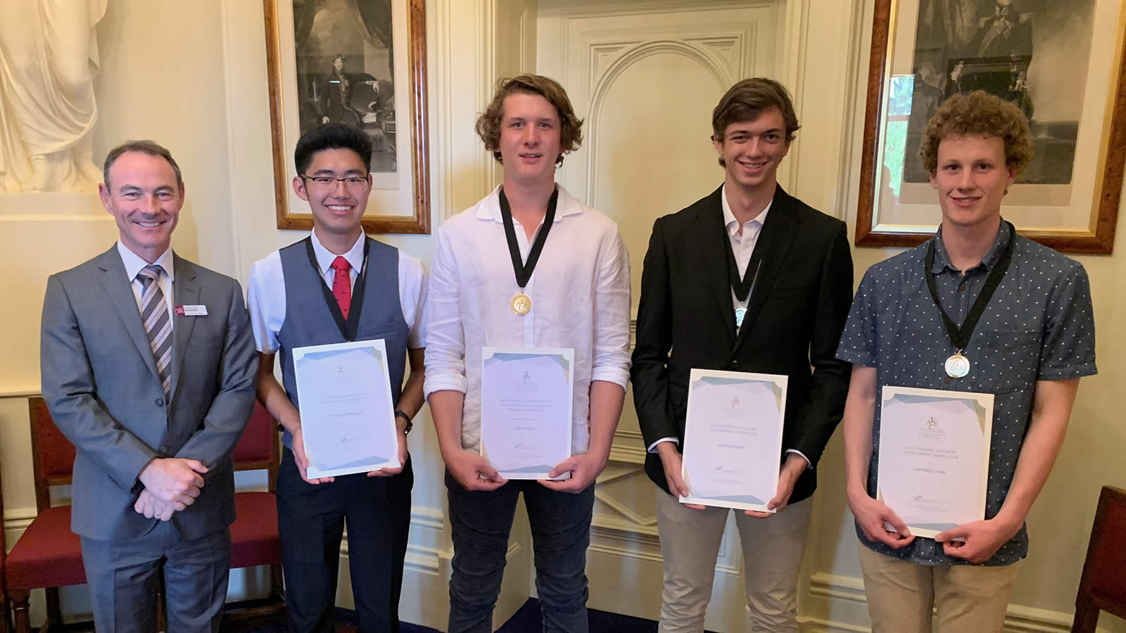 Headmaster Dr Rob McEwan, Koh Kawaguchi ('18), Will Polley ('18), James Browne ('18) and Campbell Lane ('18) at the TASC Outstanding Achievement Awards.