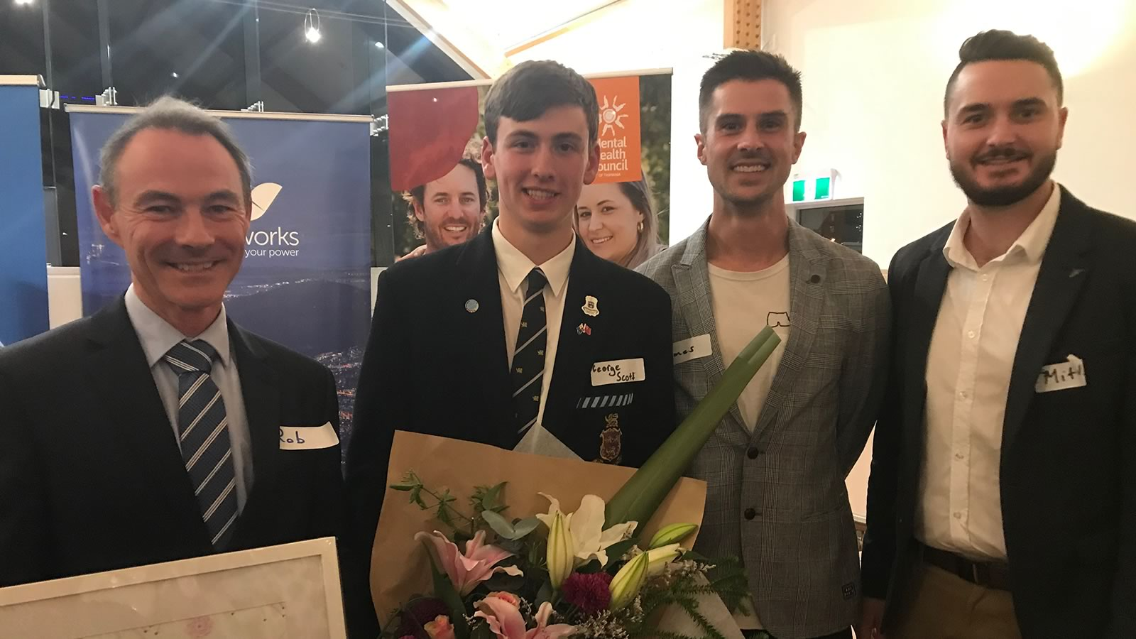 Headmaster Dr Rob McEwan, George Scott (Year 12 Mental Health Prefect) pictured with James Rice & Mitch McPherson from Speak Up! Stay ChatTY.