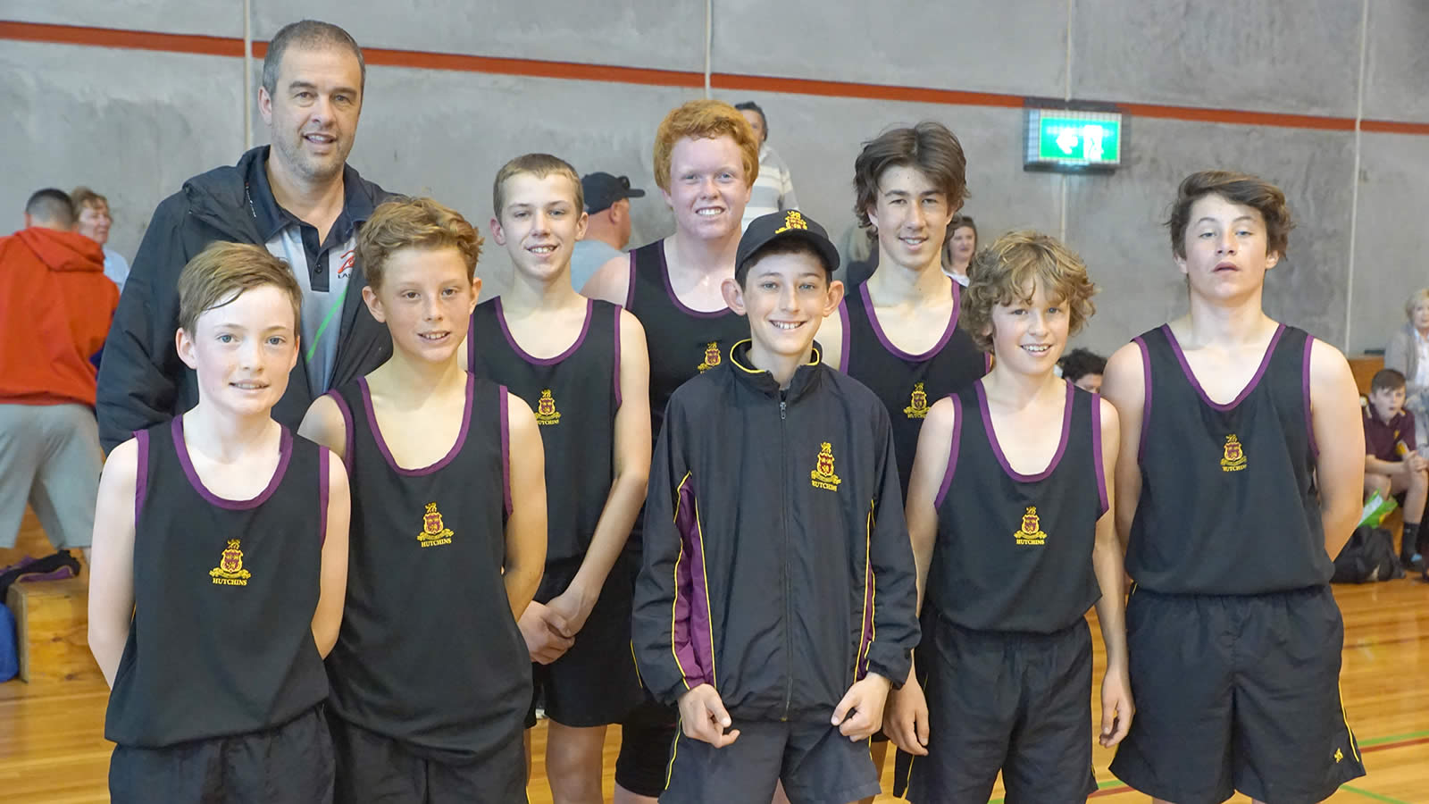 Year 7–8 Basketball Team (left to right): Campbell Baker, Rafael Gasset, Luke Harris, Jesse Wright, Tim Mitchell, Sam Conway, Archie Stewart, Callum Rogers and Coach Anthony Stewart.