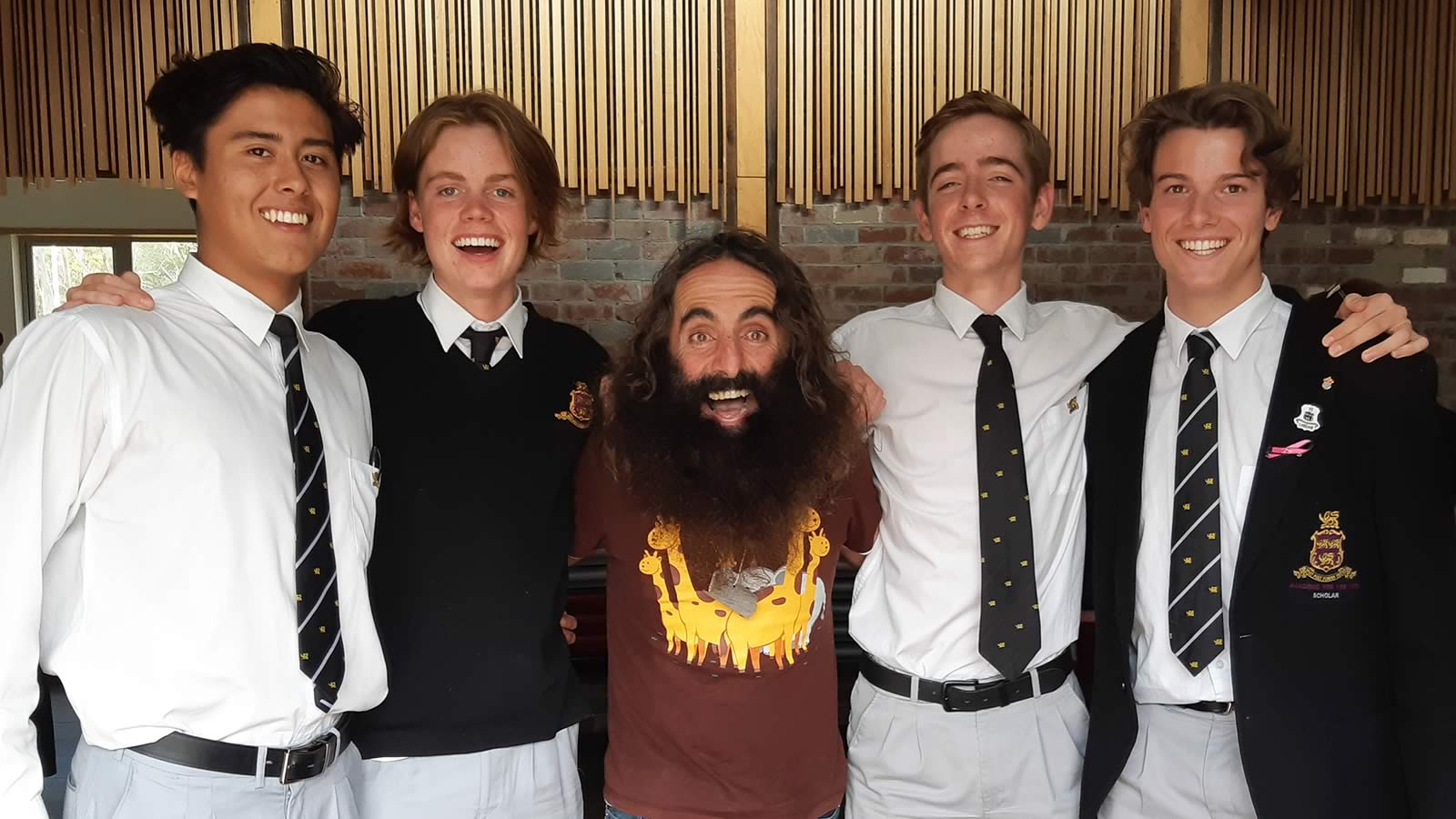 Year 12 students, Rhys Evans, Angus McIntosh, Cameron Urquhart, and Alex Stephens with Costa Georgiadis at the Tasmanian Youth Climate Leaders Conference.