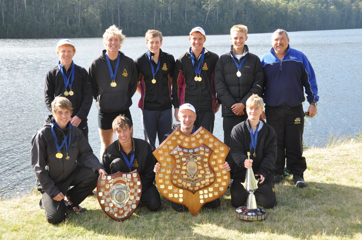 The Open eight with some of their trophies.
